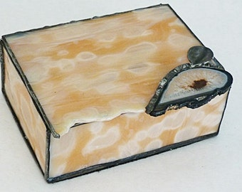 Stained Glass, Jewelry Box, Brown Crystal Geode, Apricot Art Glass, with brass, tinned finding