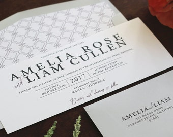 Modern Wedding Invitation, Contemporary Invitation, Editorial Invitation, Grey and Dusty Rose Invitation SAMPLE