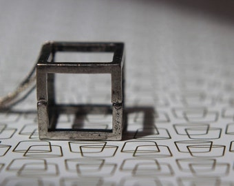 50% Off Open Silver Cube Pendant  Geometric Square Necklace  Industrial Oxidized Silver, Gunmetal  Modern  Gift Box