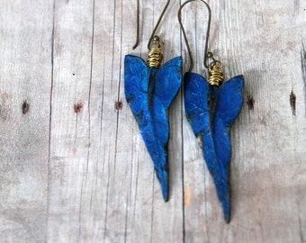 October Sale Tropical Earrings, Ocean Blue, Gold Brass, Caladium Leaves, Hand Patina, Wire Wrapped Dangles, Resort, Cruise