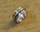 """Sterling silver spinner ring, 3/8"""" wide, scalloped ring, hammered ring, hand stamped, floral whimsical border, oxidized, worry ring"""