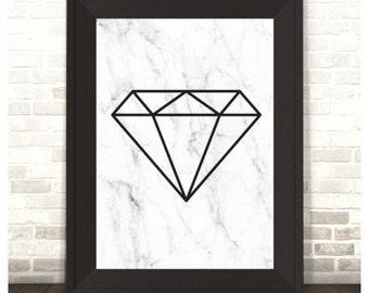 Geo Diamond on Marble Print