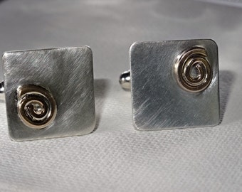 sterling silver and gold-filled cufflinks.Matte.Eco.Recycled.Solid