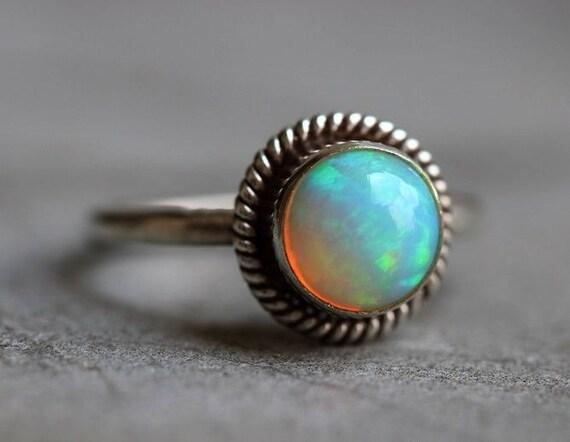 Opal ring - Natural Opal Ring - Ethiopian opal - Gemstone Artisan ring - October birthstone - Bezel - Gift for her - Christmas gift ideas