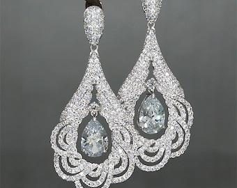 Rhinestone Teardrop Bridal Earrings, Crystals Earrings for Wedding Vintage Style Earrings Crystal Drop Earrings Large Bridal Earrings