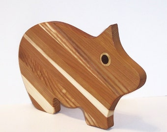 Big Pig Cutting Board Handcrafted from Mixed Hardwoods