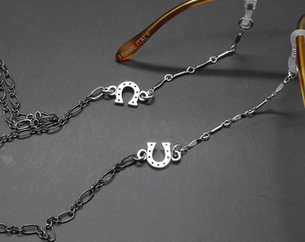 Horseshoe Eyeglass Chain Lucky Horse Shoe Equestrian Western Glasses Holder Eye Glass Lanyard