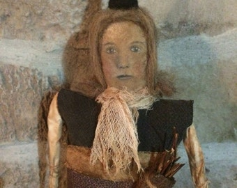 Halloween Primitive Olde Autumn Witch Doll