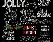 Happy Holidays- Christmas Digital Photographer Word Art Overlays- Instant DOWNLOAD