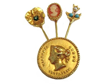 Goldette faux Victorian coin and stickpin brooch - 1970s