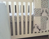 Boy Woodland Crib Bedding in Blue and Gray - Custom Crib Bedding for your Nursery
