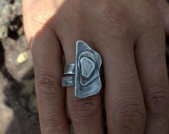 rustic silver ring wabi sabi adjustable sizing raw layered primitive handmade artisan jewelry Eco friendly