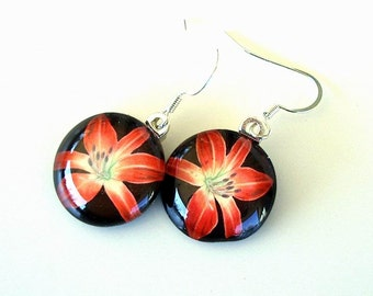 Daylily Earrings Jewelry Ruby Red Spider Daylily Art Glass Round Drops