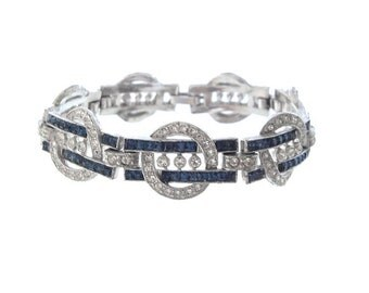 Antique 1920s Art Deco Sapphire Bracelet, Fine Vintage Designer Rhinestone Jewelry, Statement Wedding Bracelet, Art Deco Jewellery