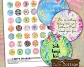 Inspirational, 1 Inch Circles, Printable, Digital Collage Sheet, Bottlecap Images, Images for Pendants, Jewelry Images, Decoupage Paper