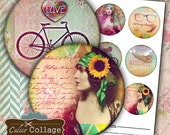 Boho Hipster Digital Collage Sheet - Pocket Mirror Collage Sheet - Digital Printable Download for 2.5 pocket mirrors, Buttons Cupcake Topper
