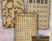 Game Pages Digital Collage Sheet Vintage Bingo Cards 2.5x3.5 ATC Size for Gift Tags, Greeting Cards, Mixed Media Art, Scrapbooking, Digital