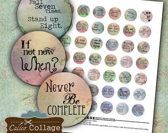 Words to Live By, Collage Sheet, Quote Collage Sheet, Digital Sheet, Bottle Cap Images, Circle Collage Sheet, DIY Jewelry Supply