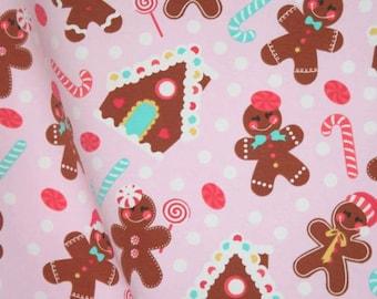 Gingerbread knit cotton lycra 1 yard Cookie Christmas Santa