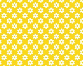 Yellow daisies knit cotton lycra