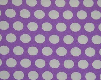 Knit magic purple large dots 1 yard cotton lycra knit