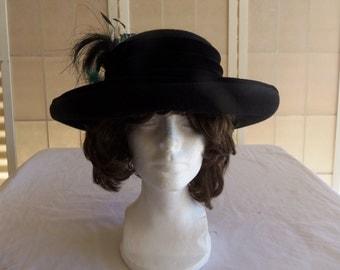 Vintage Mr. John Classic Women's Black Wool Dress Hat