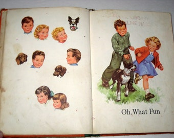 1950 Children's  School Book - Days of Fun -   Reader for Altered Art, Crafts, etc.
