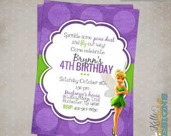 Printable Tinkerbell Girl's Birthday Party Invitation, Custom Digital Invite #B133