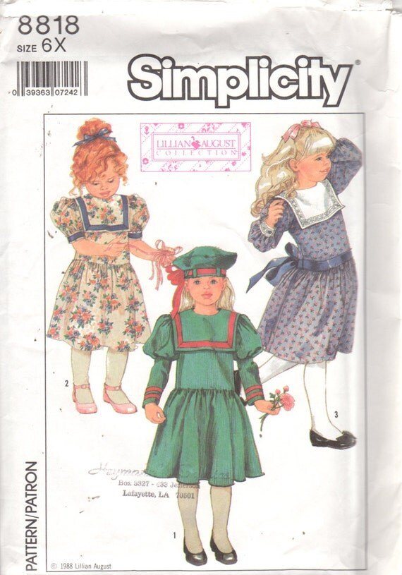 1930s Childrens Fashion: Girls, Boys, Toddler, Baby Costumes Simplicity 8818 1980s Girls Victorian Dress and Beret Pattern Lillian August Hat Party Dress Vintage Sewing Pattern Size 6X Breast 25 UNCUT $8.00 AT vintagedancer.com