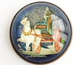 Vintage Paperweight Glass Reverse Painted Horse & Buggy Rosette Bridle Pin