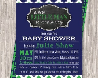 Baby Boy Shower Invite - Navy and Kelly Green Baby Boy Shower Sprinkle Invitation,  5x7 Printable