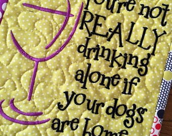 WINE LOVERS Quilted Wall Hanging . . . #cutewinesaying . . .#embroideredwallhanging . . . #metal wall hanger
