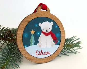 Personalized Holiday Ornament Hand Embroidered Custom Polar Bear Holiday Keepsake for 2016