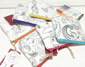 Color me pouch PARTY FAVORS with washable markers - 6 different prints you pick what you want