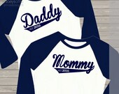 Daddy / mommy shirt set - personalized year established daddy and mommy pregnancy announcement colorblock raglan shirts gift set