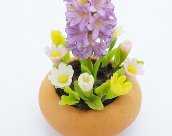 Hyacinth Daisy Miniature Polymer Clay Flowers Supply for Dollhouse and Handmade Gifts