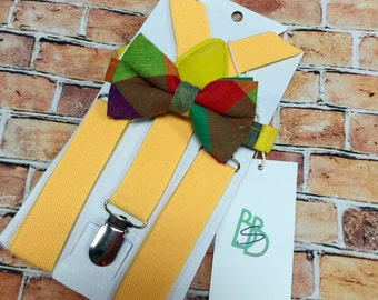 Little Boys Bow Tie and Suspender Set - Bold Yellow