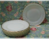6 Fire-King Anchor Hocking Plates Suburbia Scalloped Milk Glass Swirl Gold Rim Salad Dessert Plates 7.5""