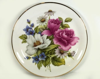 Vintage Peter Stanier Floral Bouquet Plate, Pink Roses, White Daisies, Blue Flowers, Gold Rim
