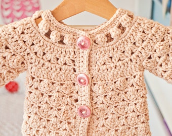 Crochet PATTERN  - Fun Shell and Cluster Cardigan (sizes baby up to 8 years)