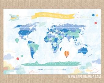 Up up and Away Nursery Map, Baby Boy Map, Hot Air Balloon Nursery, World Map Art,  // Choose Art Print or Canvas // N-XU11-1PS AA3