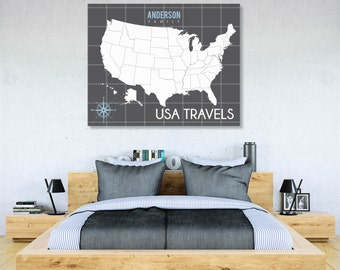 World Traveler Map, INTERACTIVE Family Map, Mark the places you've visited // Personalized, Gallery Wrapped Canvas or Print // H-I04-1PS AA2