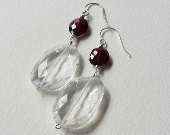 Rose Cut Rock Crystal and Red Garnet Wedding Earrings with Sterling Silver