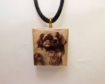 DOG JEWELRY - TIBETAN Spaniel / Scrabble Pendant / Necklace with Cord / Charm / Vintage Art
