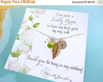 2-DAY 20% OFF SALE Personalized bridesmaid gift, Gold initial necklace with birthstone, gold leaf charm necklace, autumn wedding, fall weddi