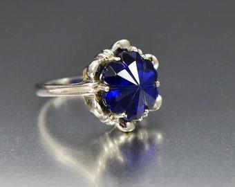 Vintage Carved Sapphire Ring, 10K White Gold Heart Ring, Cocktail Statement Ring, September Birthstone Ring, Love Token Anniversary Gift