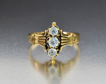Antique Aquamarine Engagement Ring, Gold Victorian Aquamarine Ring, Natural Aquamarine March Birthstone Ring, Three Stone Ring Navette Ring