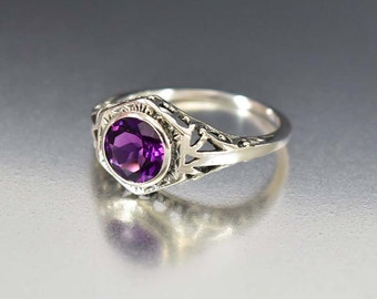 Sterling Silver Amethyst Ring, Engagement Ring, Sterling Silver Ring, Birthstone Ring, Art Deco Engagement Ring Style Jewelry Estate Jewelry