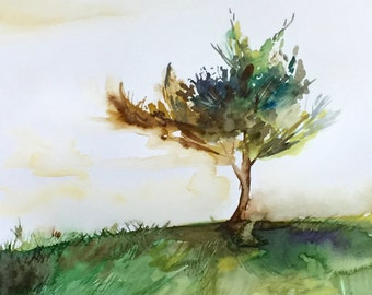 "Young Pine, Watercolor Painting, Landscape Original Painting, 9""x12"""
