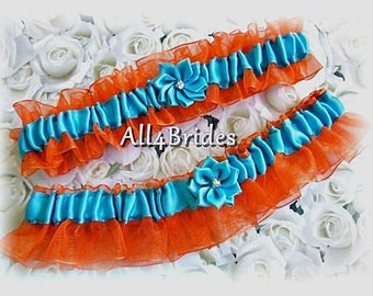 Weddings bridal garters orange and turquoise keepsake and toss garters. Prom garters